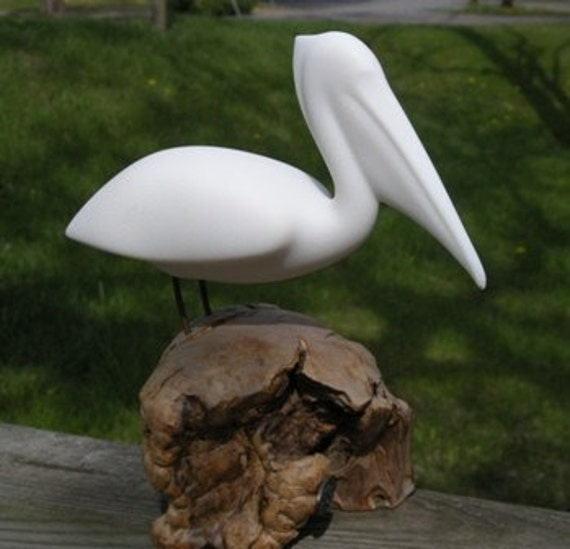 Sculptured White Pelican By Artist John Perry
