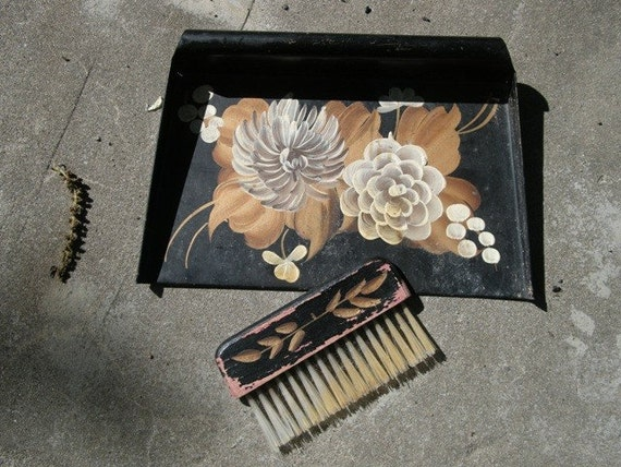 Antique Metal Dust Pan Tray And Wooden Crumb Brush Set Hand