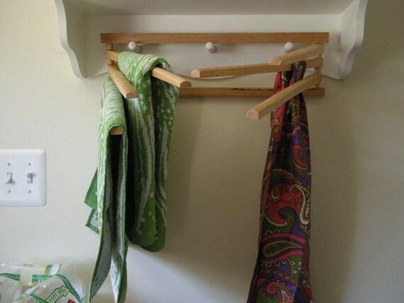 Vintage Folding Wooden Towel Bar Rack