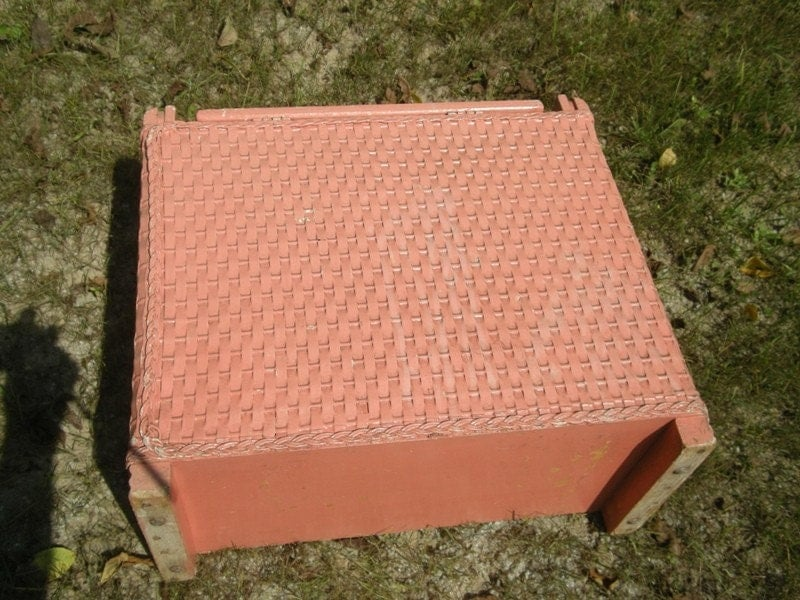 Childs Shabby Chic Pink Vintage Wicker And Wood Laundry Hamper