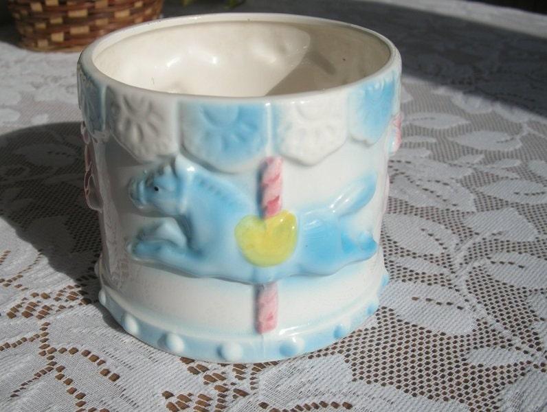 Vintage Baby Carousel Horse Planter Flower Pot