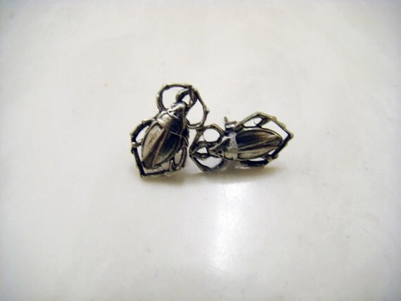 Silver Scarab Beetle Post Earrings