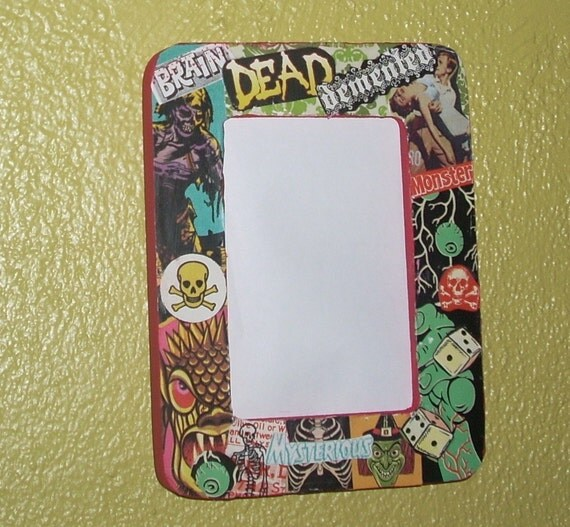 psychobilly horror punk DIY monster collage picture frame