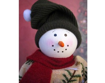 Flake the Snowman - Christmas Shelf Sitter Block Doll Winter Red Green
