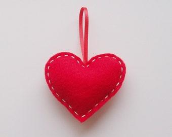 Mini Red Handmade Felt Love Heart