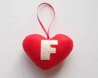 SUPER CUTE PROMO : Handmade Felt Love Heart - Letter F - assorted colours