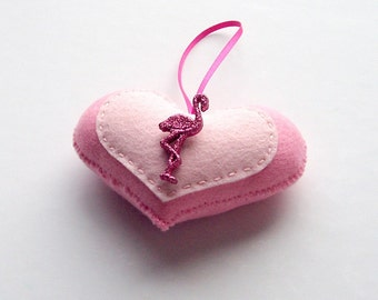 All the Pinks Flamingo Handmade Felt Love Heart