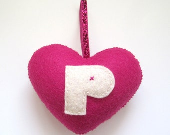 SUPER CUTE PROMO : Handmade Felt Love Heart - Letter P - Dark Pink
