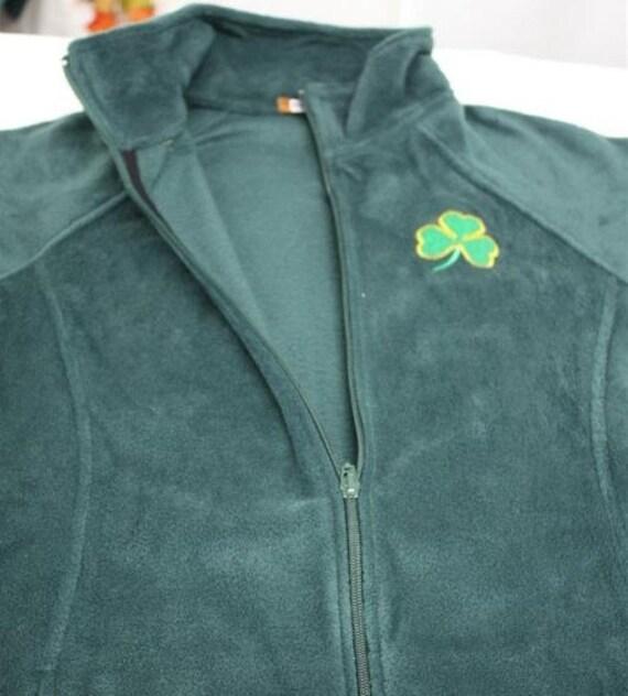 Embroidered irish women s green zip up fleece jacket