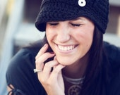 THE ONE WITH BUTTONS - adult/teen chunky beanie with brim