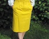vintage yellow Adolfo PENCIL SKIRT