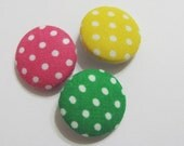 Polkadot set of 3 - fabric covered buttons for crafting