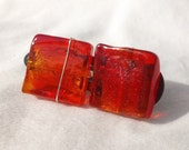 red orange glass squares on snap barrette