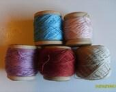 Vintage Crochet Tatting Thread on  5 Wooden Spools, 5 colors