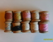 Vintage Knitting Thread , Cotton, on Wooden Spools   qty 10   mixed colors