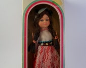 vintage nationality native doll with sleeping eyes switzerland. folk art. collectable. doll lover
