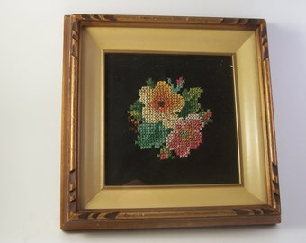 vintage  crochet set or two flowers framed with glass vintage 1970s framed art