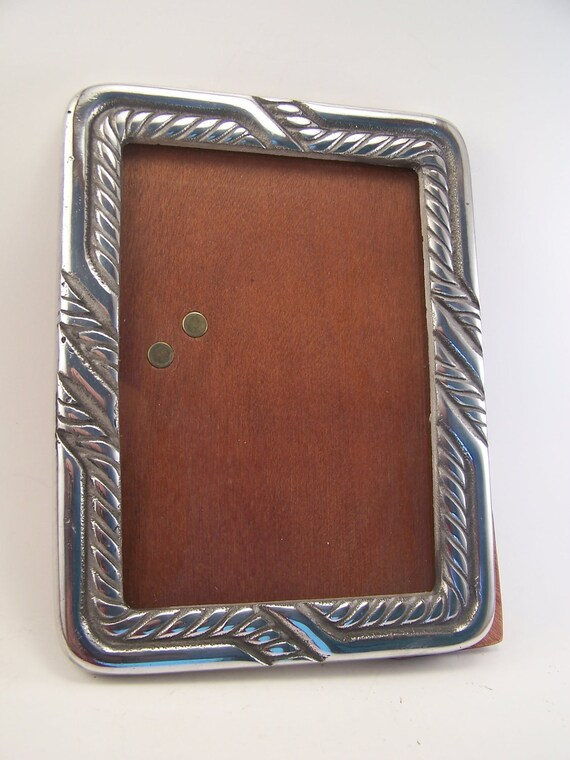 vintage hand made metal aluminun and wood photo frame 1980s brand new
