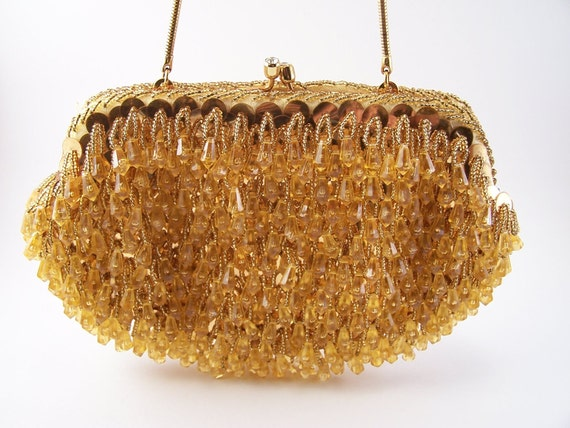 Vintage Hand Beaded Purse Made in Hong Kong Stylecraft  1960's yellow gold color night dress