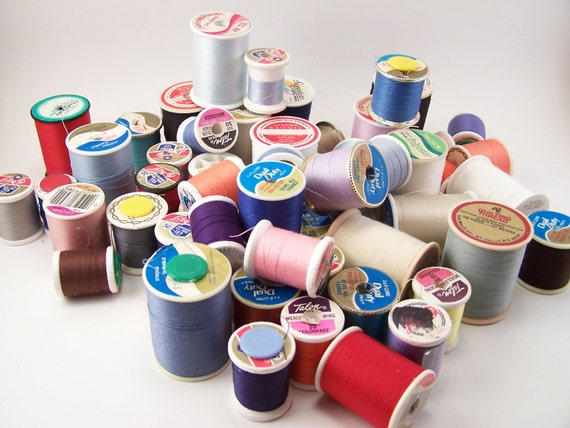 vintage lot of 55 roll of tread many color supply spools vintage thread