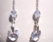 Swarovski Crystal Earrings - Clear Heart Dangle