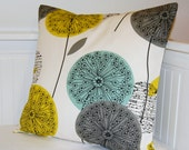 teal grey mustard cushion cover, dandelion flower decorative pillow cover 16 inch