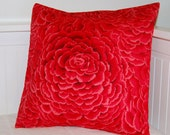 red flower cushion cover  , red pillow cover 16 inch
