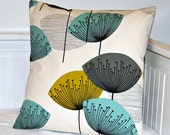 RESERVED RESERVED For AB teal grey mustard pillow cover , dandelion cushion cover 18 inch