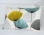 RESERVED FOR CL teal grey mustard pillow cover ,dandelion cushion cover 12 x 18 inch