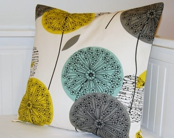 teal grey mustard cushion cover, dandelion flower decorative pillow cover 18 inch