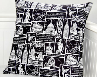 REDUCED  London cushion cover, UK bus, Tower Bridge, Big Ben, crown pillow cover 18 inch
