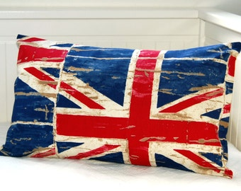 vintage style Union Jack  cushion cover, UK red cream and blue pillow cover 12 x 20 inch