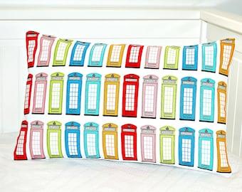 UK telephone box cushion cover,  pop art, retro lumbar repurposed tea towel pillow cover 12 x 18 inch