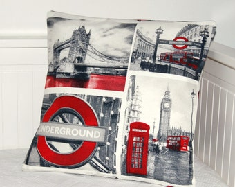 London cushion cover, UK red bus, Tower Bridge,Big Ben, London Underground pillow cover 16 inch