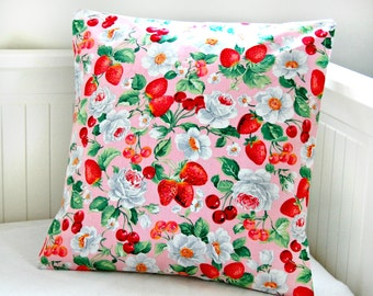 red and pink strawberries cherries and roses cushion cover , decorative pillow cover 16 inch