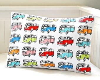 campervan pillow cover,  retro lumbar repurposed tea towel cushion cover 12  x 18 inch