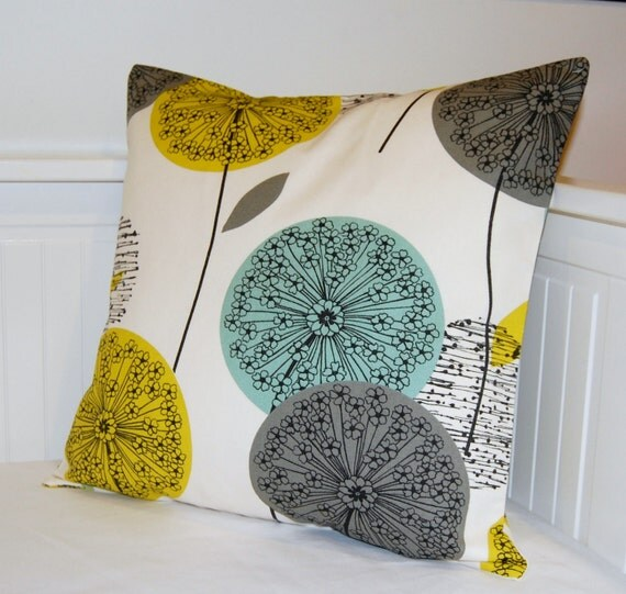 Cushion Colour Combinations: Blue Teal Grey Mustard Yellow Cushion Cover Dandelion Flower