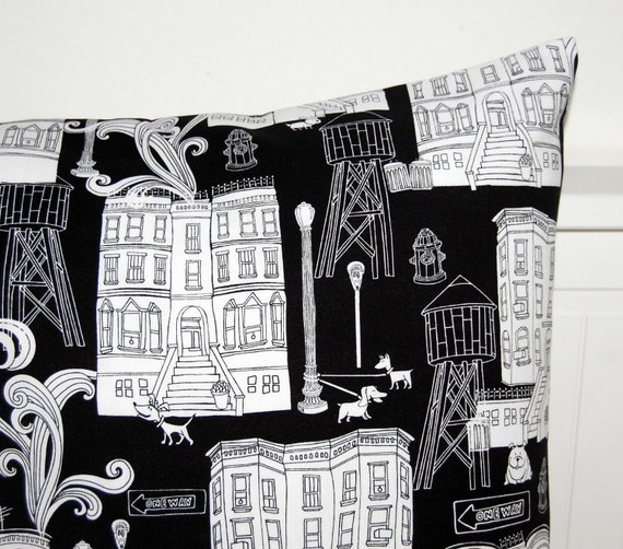 black and white pillow cover, cushion cover 18 inch