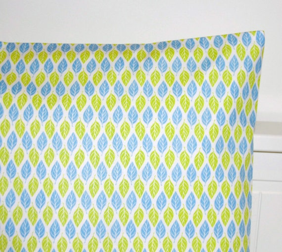leaves decorative pillow cover,  blue lime white leaves cushion cover 16 / 18 inch
