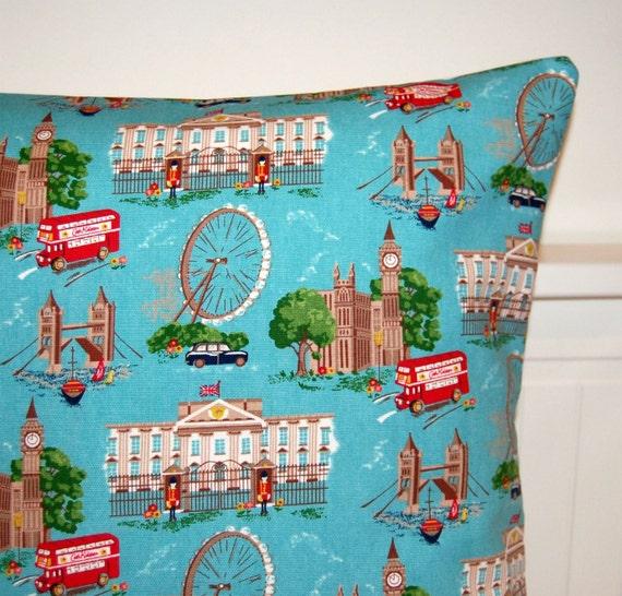 London cushion cover ,Big Ben, taxi, Tower Bridge, London bus Cath Kidston pillow cover 18 inch