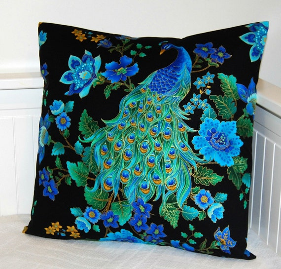 Peacock Blue Throw Pillow : peacock blue decorative pillow cover cushion cover 18 inch