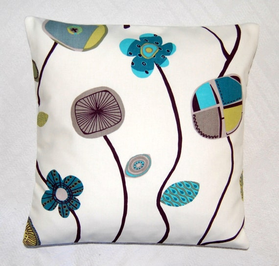 teal turquoise grey olive retro flowers cushion cover, pillow cover 16 inch