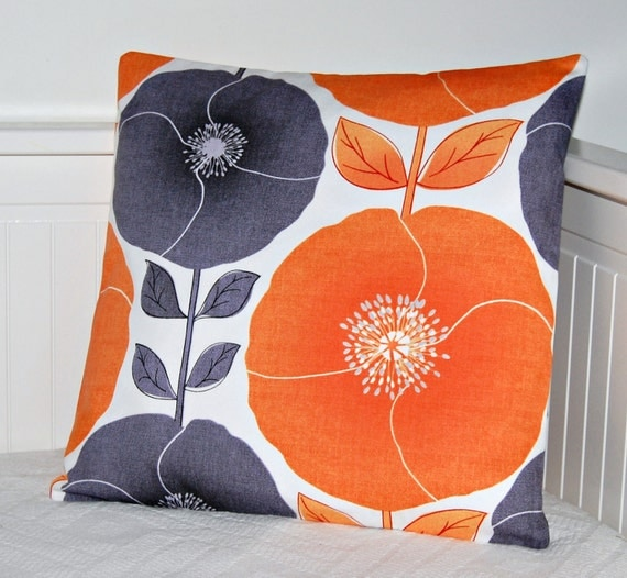 decorative pillow cover orange and grey poppies by LittleJoobieBoo