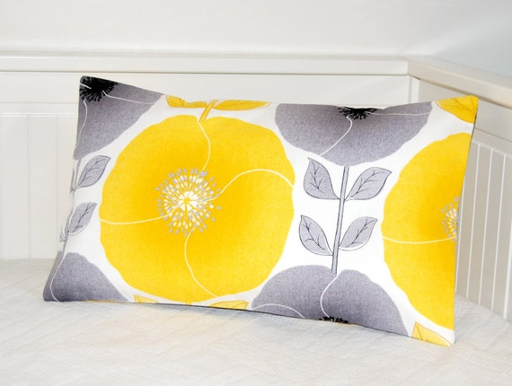 RESERVED pillow cover yellow and grey poppies and leaves ,cushion cover 12 x 20 inch