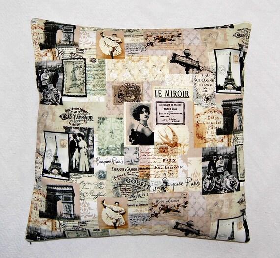 Paris Eiffel Tower Pillow 16 X 16: Vintage Style Paris Pillow Cover Eiffel Tower By