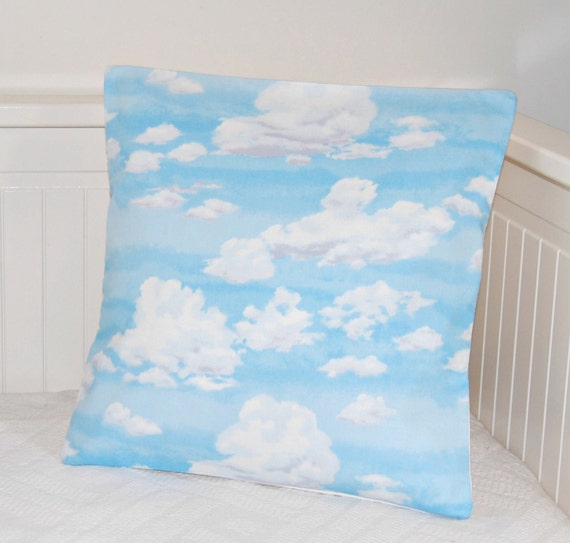 clouds and sky cushion cover, 14 inch blue pillow cover