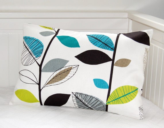 cushion cover blue teal lime green grey leaves , 12 x 18  inch decorative pillow cover