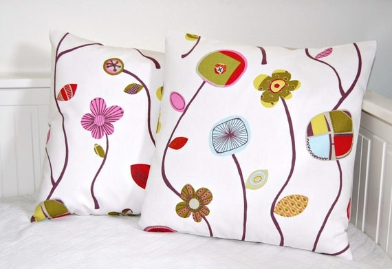 retro pillow covers 18 inch, pair of lime pink plum blue red retro flowers cushion covers