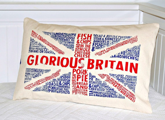 UK Union Jack  decorative pillow cover,  12 x 18 inch  lumbar repurposed bag cushion cover