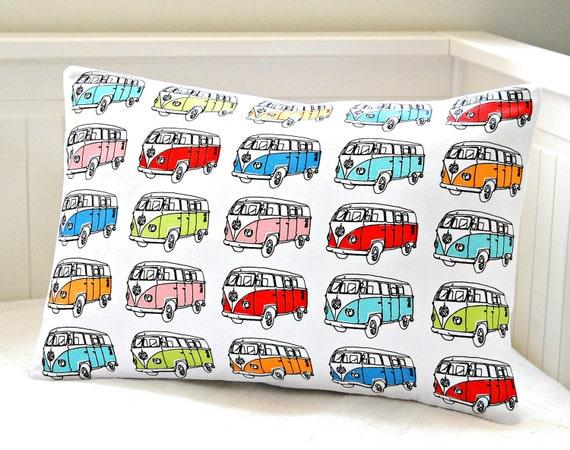 VW camper van cushion cover,  retro lumbar repurposed tea towel pillow cover 12  x 18 inch